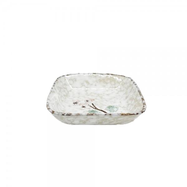 Keramikschale rechteckig Schnee (Ø8,5 cm)