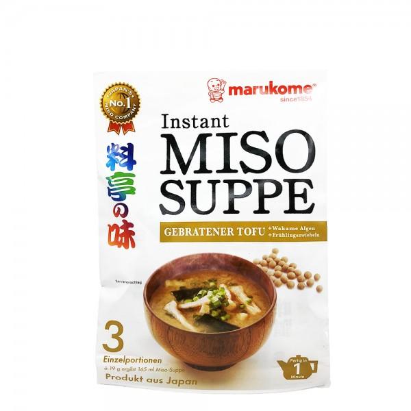 Instant Miso Suppe mit gebratenem Tofu Marukome 57g