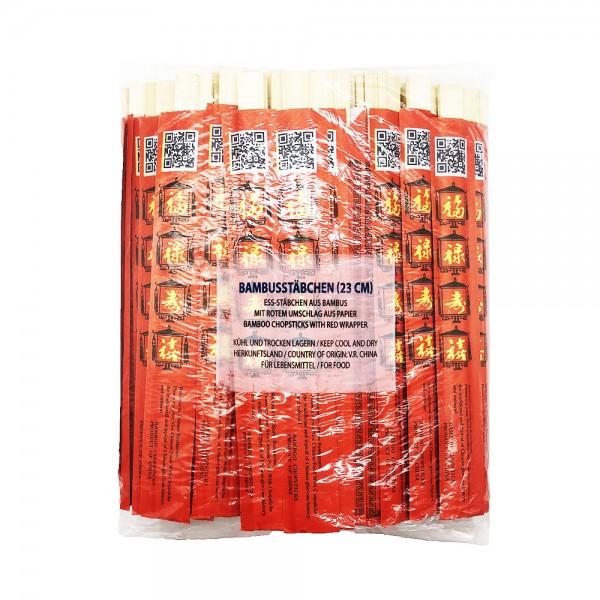 Bambus Essstäbchen mit rotem Umschlag (100 Paar)