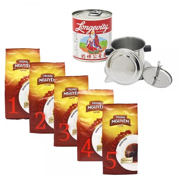 Trung Nguyen Kaffee Box mit Kondensmilch + 1 Kaffeefilter gratis